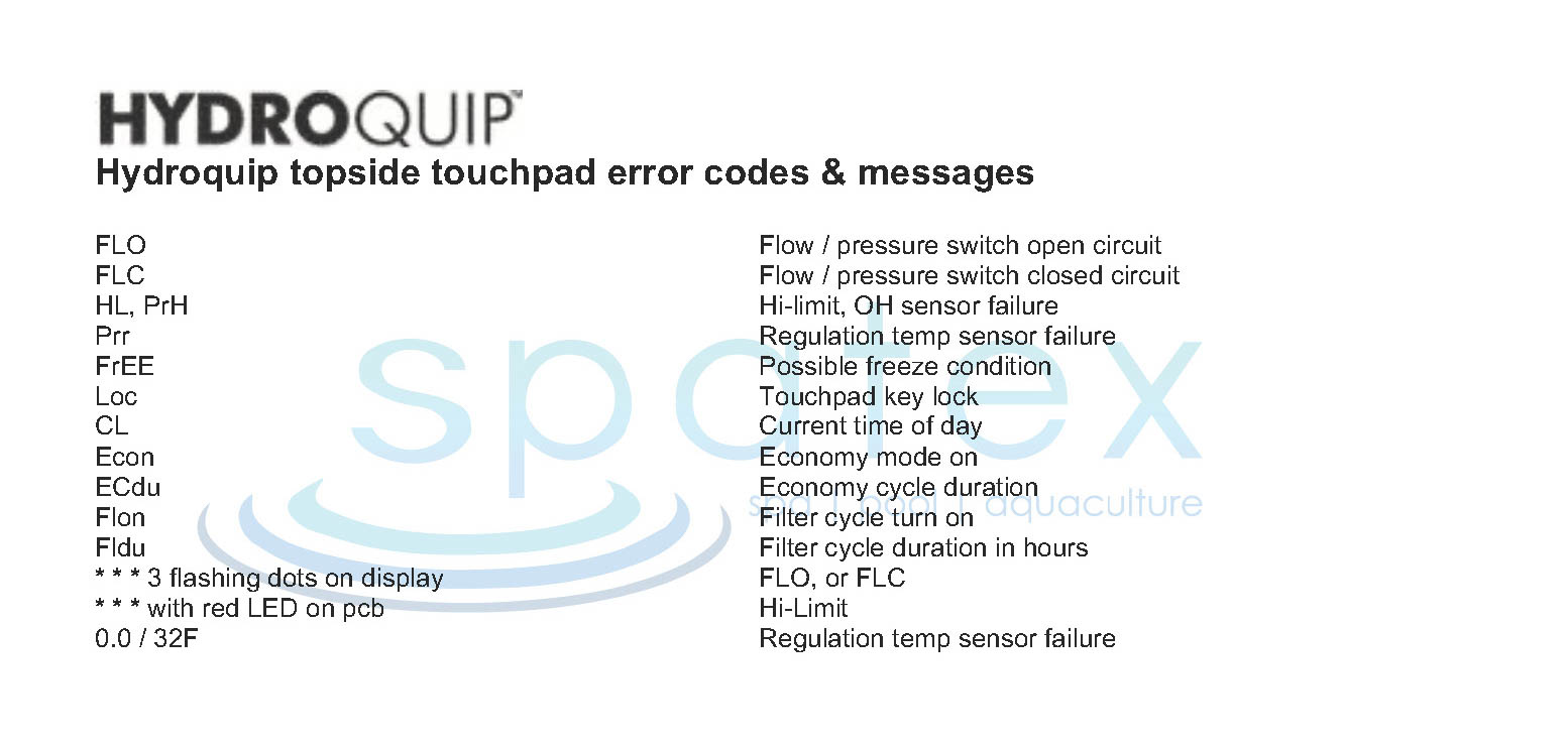 Hydroquip spa topside touchpad error fault codes